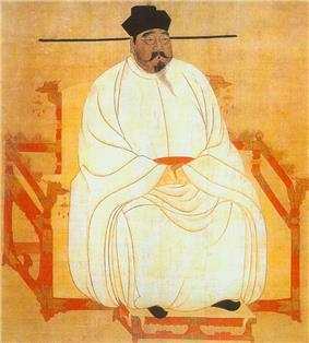 Painted image of a portly man sitting in a red throne-chair with dragon-head decorations, wearing white silk robes, black shoes, and a black hat, and sporting a black moustache and goatee.