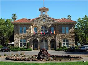 City Hall of Sonoma, which stands at the center of Sonoma Plaza.