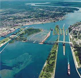 Aerial view of the St. Marys River; Whitefish Island is just to the left of the rapids