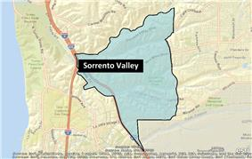 Location of Sorrento Valley, San Diego