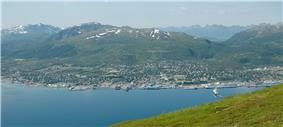 View of Sortland from Strandheia mountain.