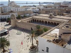 The Grand Mosque of Sousse, Tunisia, as seen from the tower of the Ribat