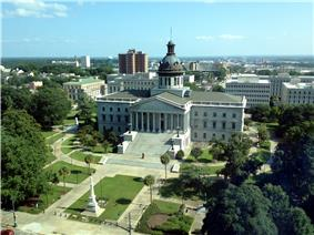 View of the South Carolina State House with the Confederate Monument in front