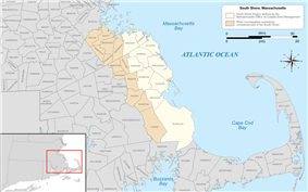 Map of the South Shore region of Massachusetts highlighted in yellow based on the region defined by the Massachusetts Office of Coastal Zone Management, with areas sometimes included in the region on other lists highlighted in light brown.