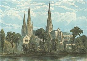 This faded postcard of Lichfield Cathedral shows a delicately coloured engraving of the cathedral with three tall slim spires rising against sunlit clouds above a gliding river.