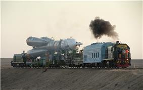 A Soyuz-FG is rolled out to the launch pad at Baikonur Cosmodrome.