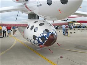 SpaceShipOne hanging under White Knight