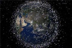 Earth from space, with space debris enhanced