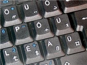 Closeup of Hungarian keyboard