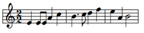 The image depicts musical notation of a fast-paced motif consisting of minims, crotchets and quavers.