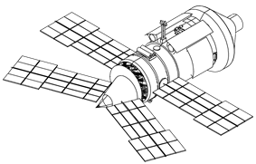 A line diagram of a space station module consisting of a large cylinder with a shallow cone at one end and a steeper cone at the other. The shallow cone has a docking port mounted in the centre, while the steeper cone has two large solar arrays projecting from it. Two more arrays are mounted at the base of the cone.