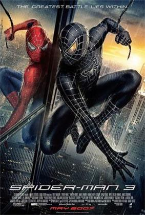 Spiderman in the rain in his black suit looks at himself in a mirror wearing the original suit, with the film's slogan, title, release and credits