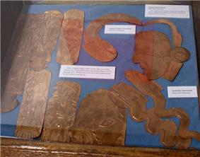 Replicas of copper pieces found at the Spiro site