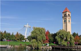 The Great Northern Railway clock tower and Expo '74 U.S. Pavilion in Riverfront Park
