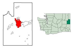 Location of Spokane inSpokane County and Washington