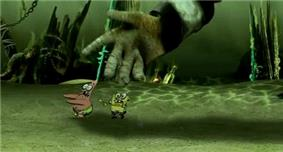 SpongeBob and Patrick chased by large green hand on the sea floor
