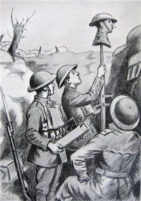 A drawing shows three soldiers raising a dummy head on a stick above a trench parapet. A cigarette hangs from the dummy's mouth. One man holds a periscope at the ready.