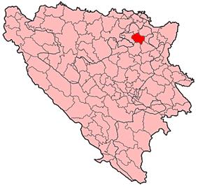 Location of Srebrenik within Bosnia and Herzegovina.