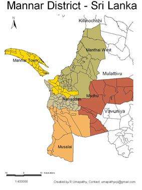 DS and GN Divisions of Mannar District, 2006