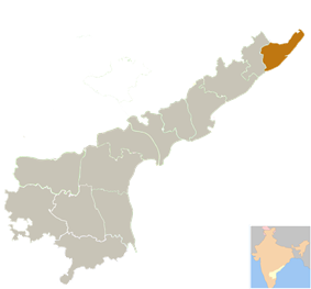 Location of Srikakulam district in Andhra Pradesh