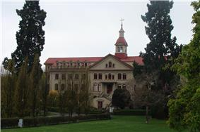 View of St Ann's Academy and surrounding gardens