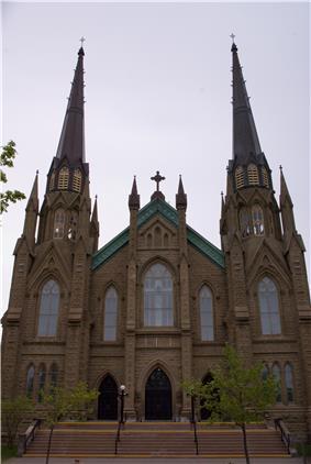 Exterior view of front facade of St. Dunstan's Basilica