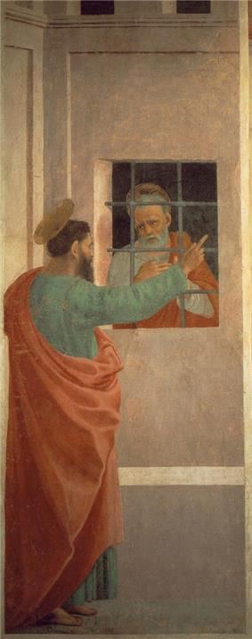 XIII=St Paul Visiting St Peter in Prison, Lippi (unrestored)