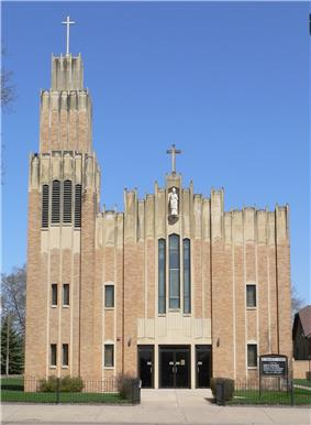 Art Deco church with statue of St. Stanislaus on upper facade