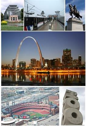 From top left: Forest Park Jewel Box, MetroLink at Lambert - St. Louis International Airport, Apotheosis of St. Louis at the St. Louis Art Museum, The Gateway Arch and the St. Louis skyline, Busch Stadium, and the St. Louis Zoo