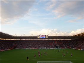 View of the Northam Stand inside St Mary's Stadium, Southampton's ground
