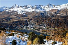 View of St. Moritz and the surrounding mountains from the hiking trail to Muottas da Schlarigna (Celerina)