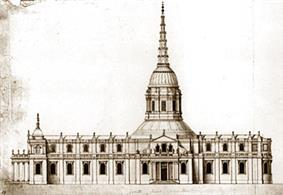A prototype drawing of Christopher Wren's new cathedral, with a very different central tower, looking like a large upturned funnel.