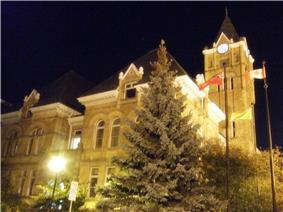 View of the St. Thomas City Hall at night