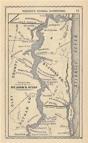 A 19th century map of the lower basin of the river from Palatka to the mouth, showing towns and landings that were populated at the time