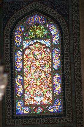 Stained glass window at Süleymaniye Mosque.jpg