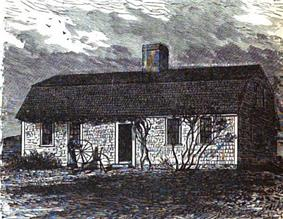 A lithograph of a small, one and a half story shingled house