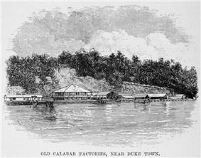 Old Calabar Factories from H.M. Stanley, The Congo and the Founding of its Free State; a story of work and exploration (1885)