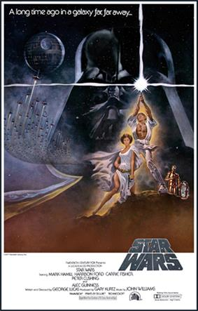 Film poster showing a man triumphantly holding a laser sword in the air, a woman sitting beside him, and two robots staring at them. A figure of the head of a helmeted man and a space station with several starships heading towards it are shown in the background. Atop the image is the text