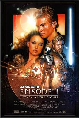 Film poster. A young man is seen embracing a young woman. A man holds a lightsaber. In the foreground, there is a man wearing a suit.