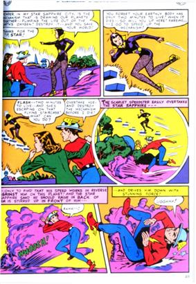 A page taken from All-Flash Comics #32, showing the Flash and a woman in a coat standing on an alien planet with a yellow sky and violet sand. They are watching a woman in a violet costume escape up a floating stairway she's made using her super powers, and she tells the two they only have two minutes to live unless a device is reached in time. Flash tries to follow her using his super speed but falls to the ground with