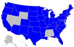 A map of the United States with the states with lotteries highlighted