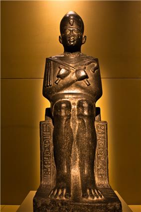 A seated Statue of Merhotepre Sobekhotep V from the Cairo Museum, on display at the King Tut exhibit in Seattle. It clearly bears both his royal names.