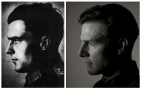 Collage of two photos that each show a man's profile. The left profile is a dated photo of a man with the visible collar of his army uniform, and the right profile is a modern photo of a man.