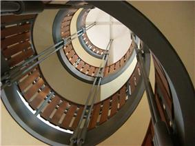 One portion of Stauffer Library's interior helical staircase