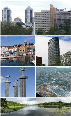 Top: Breiavatnet, middle left top: View of Vagen, middle right up: Rica Hotel, middle left bottom: Gamle area, bottom: Monument to the Battle of Hafrsfjord, middle right bottom: Stavanger aerial photo bottom: Lille Stokkavann
