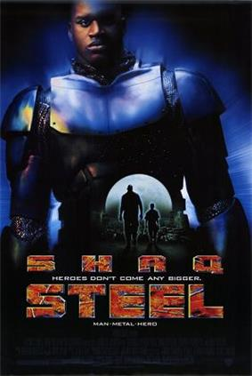 An image of the film poster featuring a small silhouette of the characters Susan Sparks and John Henry Irons in the center. Encompassing the background is a larger image of John Henry Irons in his Steel outfit. The bottom of the image shows the words
