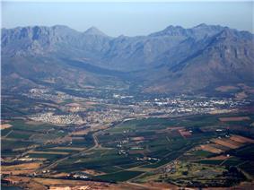Stellenbosch with Great Drakenstein and Stellenbosch Mountains beyond