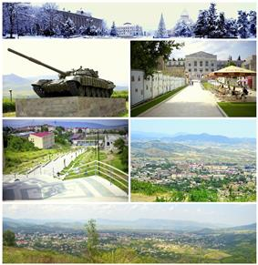 From top left:Panoramic view of the Renaissance Square T-72 tank memorial of Karabakh War• Artsakh University The Republican Stadium• Stepanakert Skyline Panoramic view of Stepanakert</small>