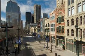 View of historic buildings located along Stephen Avenue