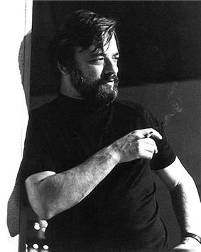 A black and white photo of Stephen Sondheim in 1976